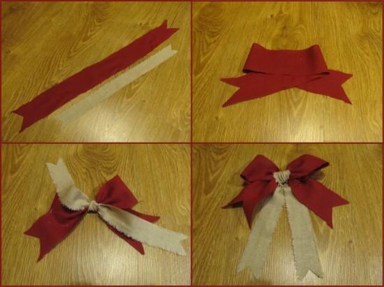 Как с ленты сделать новогодние бантики