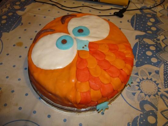 украшение из мастики, торт сова