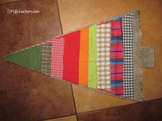 лоскуты ткани для новогодней ёлки