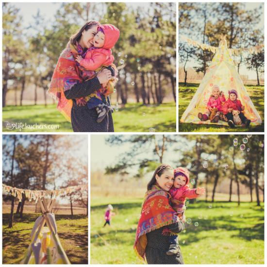 Семейная фотосессия на американский манер, мыльные пузыри, палатка типпи, гирлянда