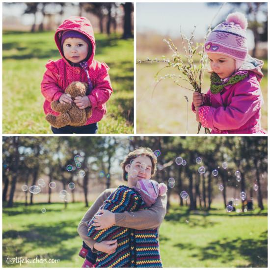 Семейная фотосессия на американский манер, папа держит дочку, ребёнок с мишкой, ребёнок с цветами