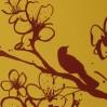 """Роспись стен своими руками """"Птицы на ветке сакуры"""""""